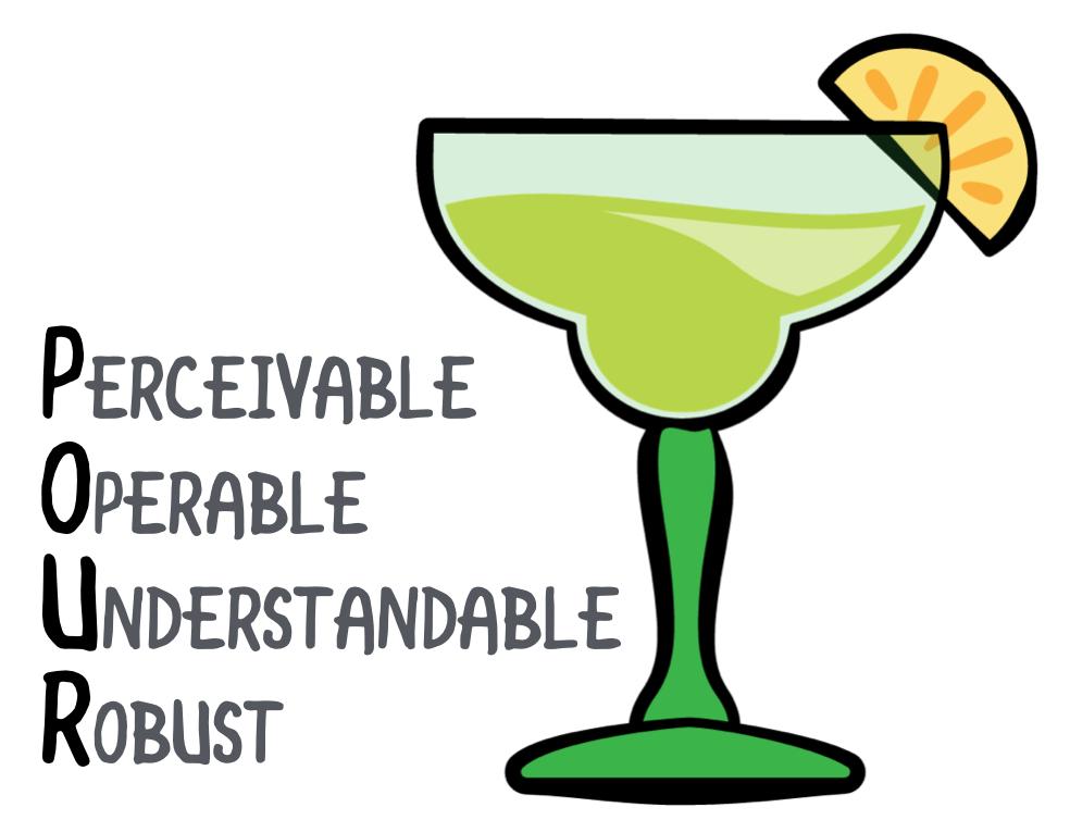 Perceivable, Operable, Understandable, Robust.