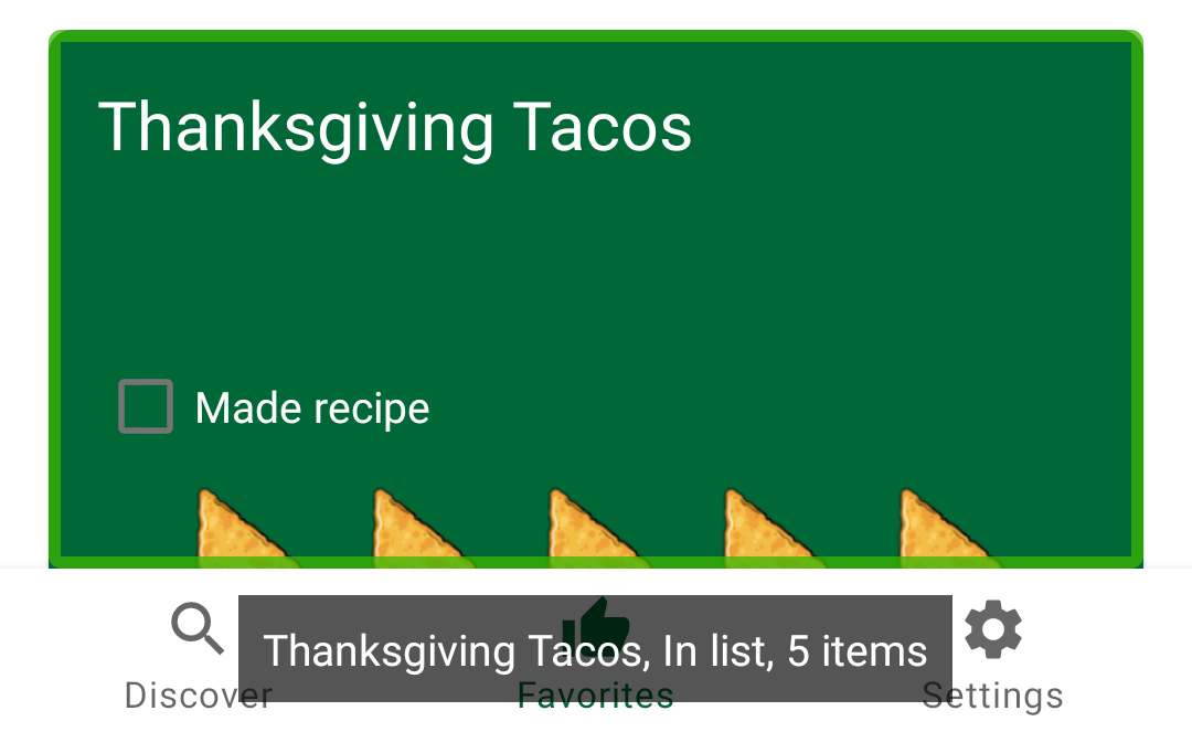 Screen reader reading: Thanksgiving Tacos, In list, five items.