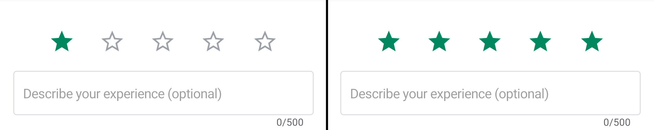 One-star play store review next to a five-star review.