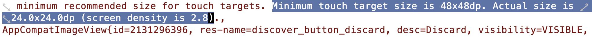Minimum touch target size is 48x48dp.
