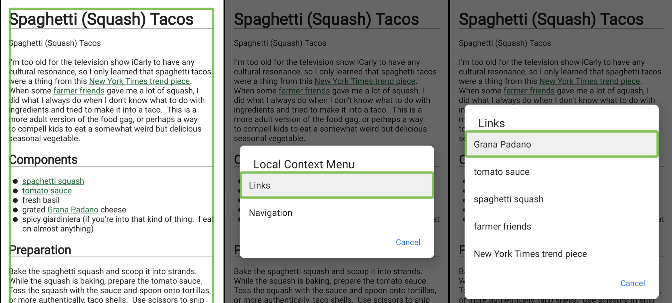 TalkBack links menu.