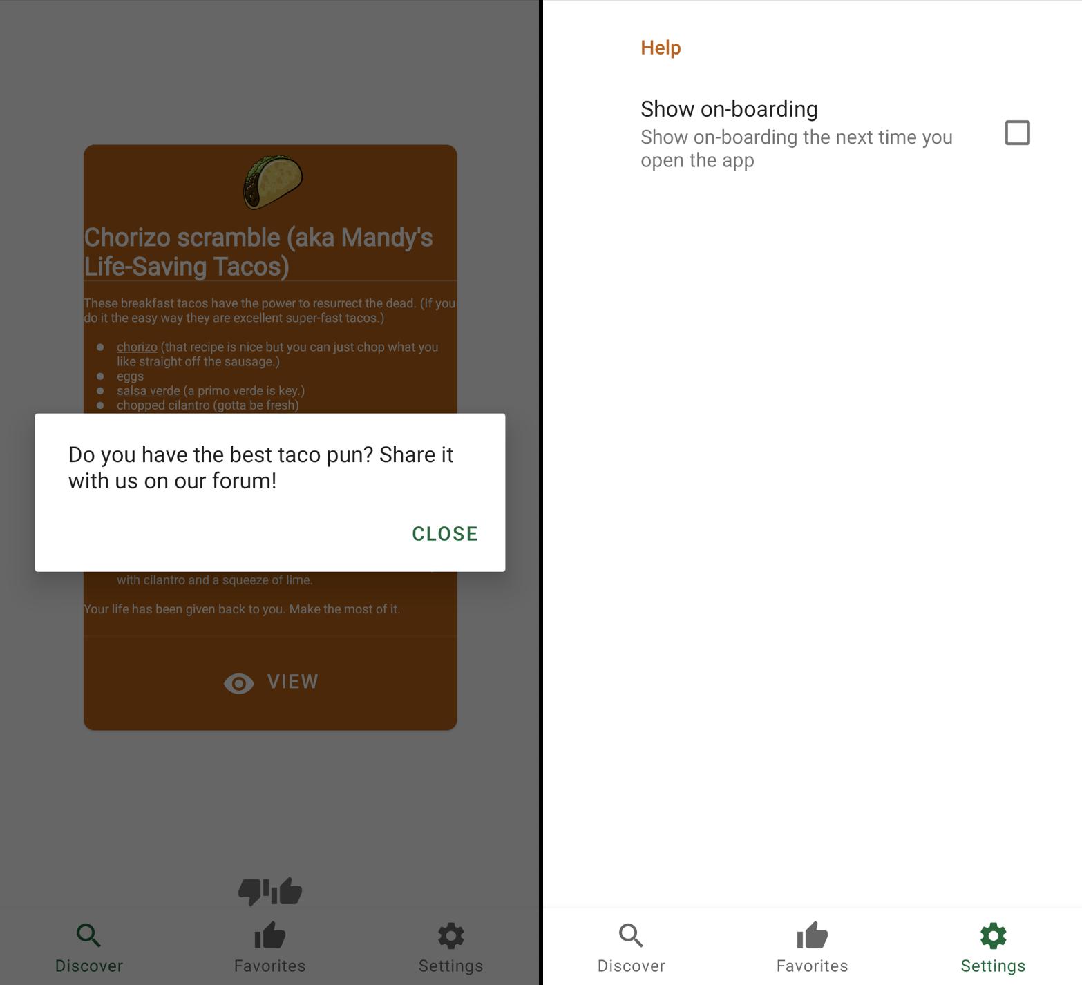 Screen shot of pop-up next to screenshot of settings screen.