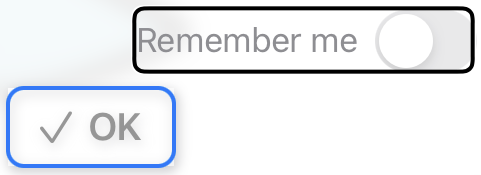 Remember-me toggle and OK button