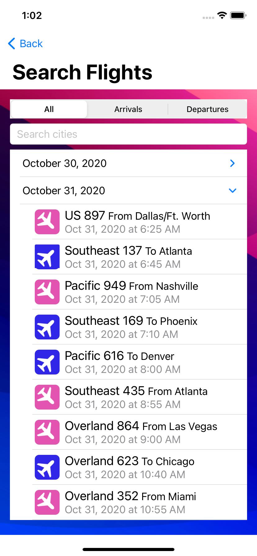 Hierarchical flight list