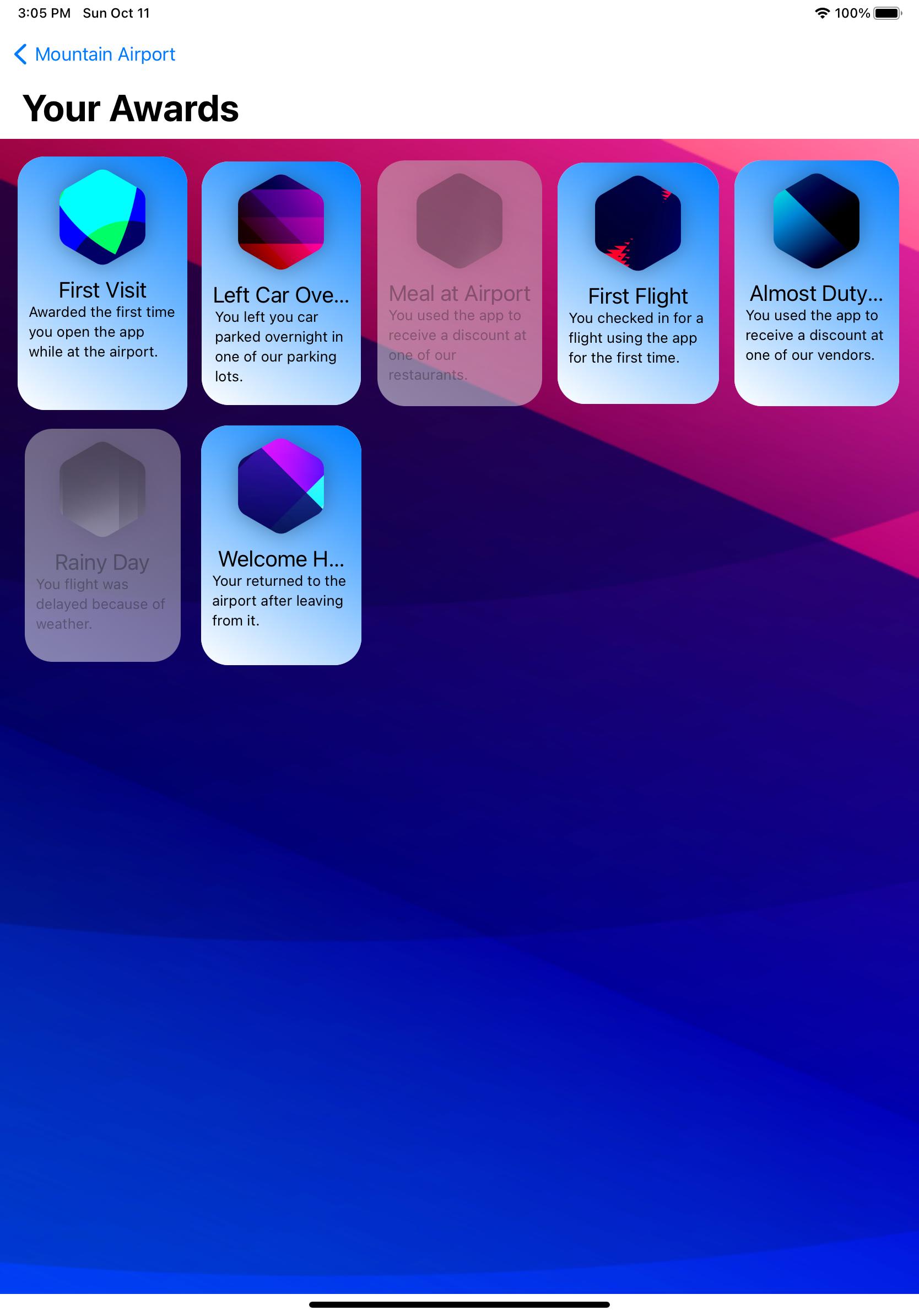 Award grid iPad