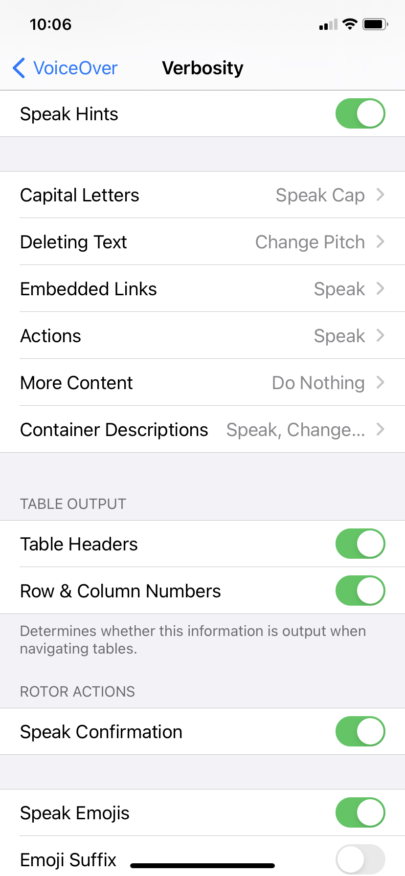 VoiceOver verbosity settings used for this chapter