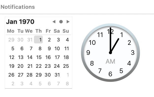 Graphical date picker macos