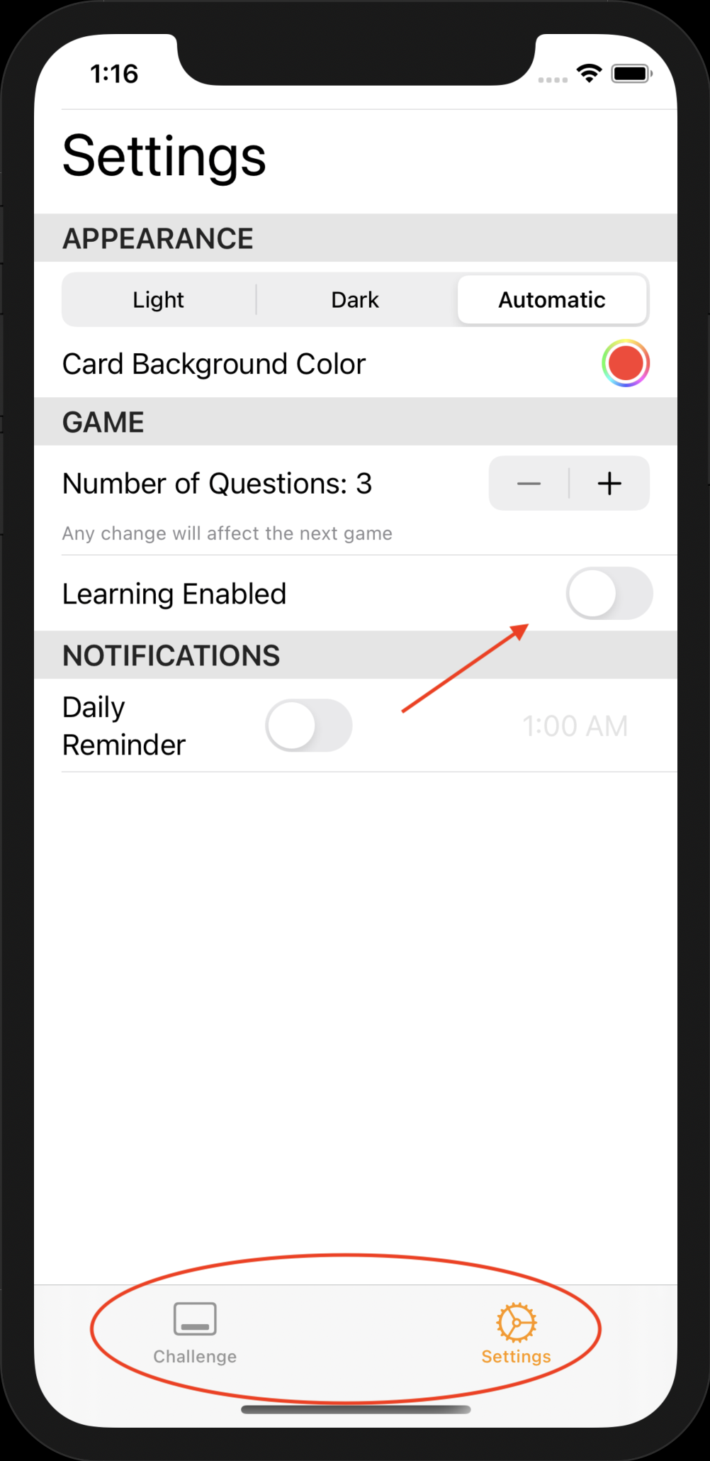 Settings with learning disabled