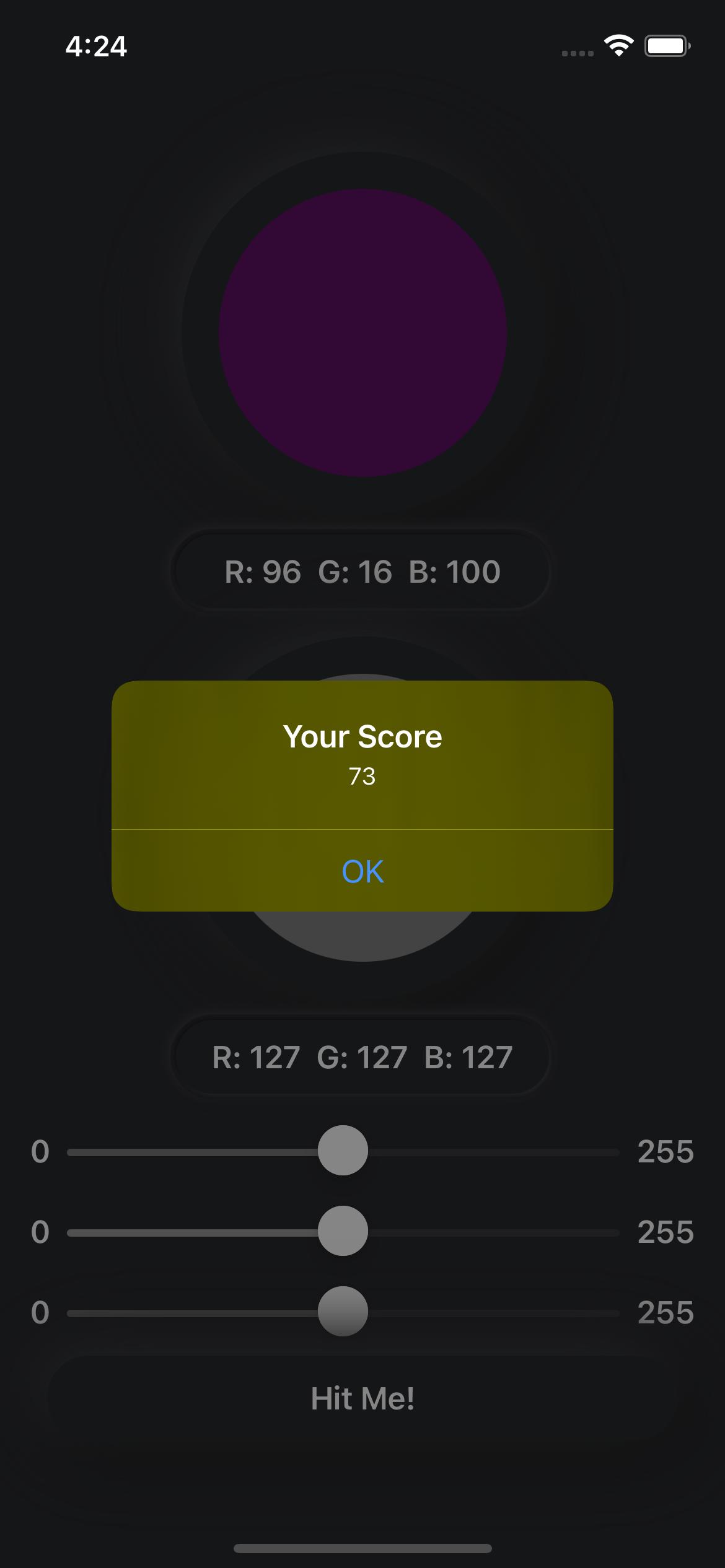 Simulator: Alert's color scheme is dark.