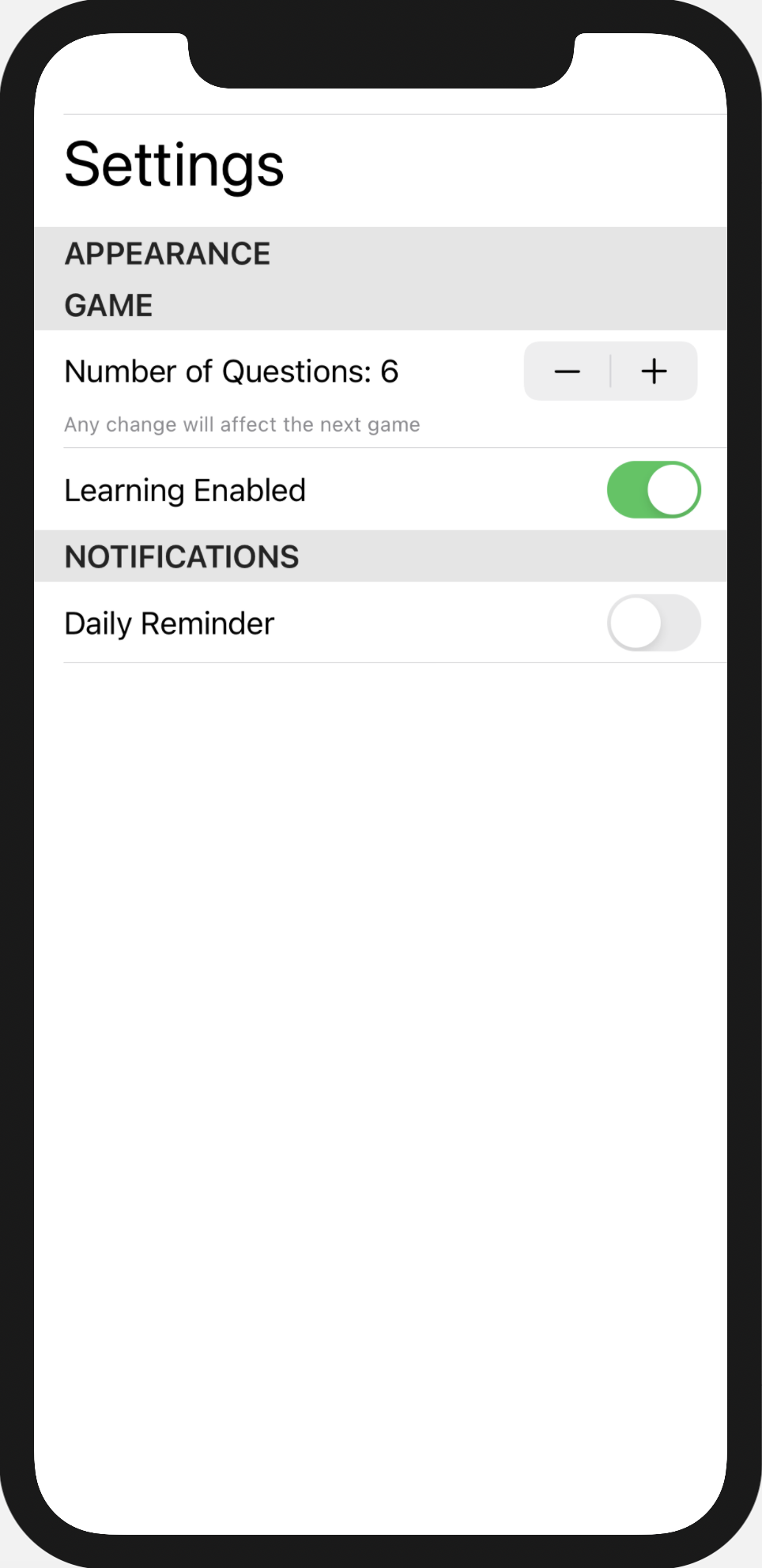 Notifications toggle