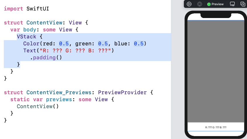 Color view in VStack