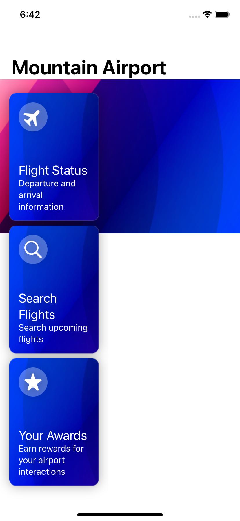 Mountain Airport app initial screen