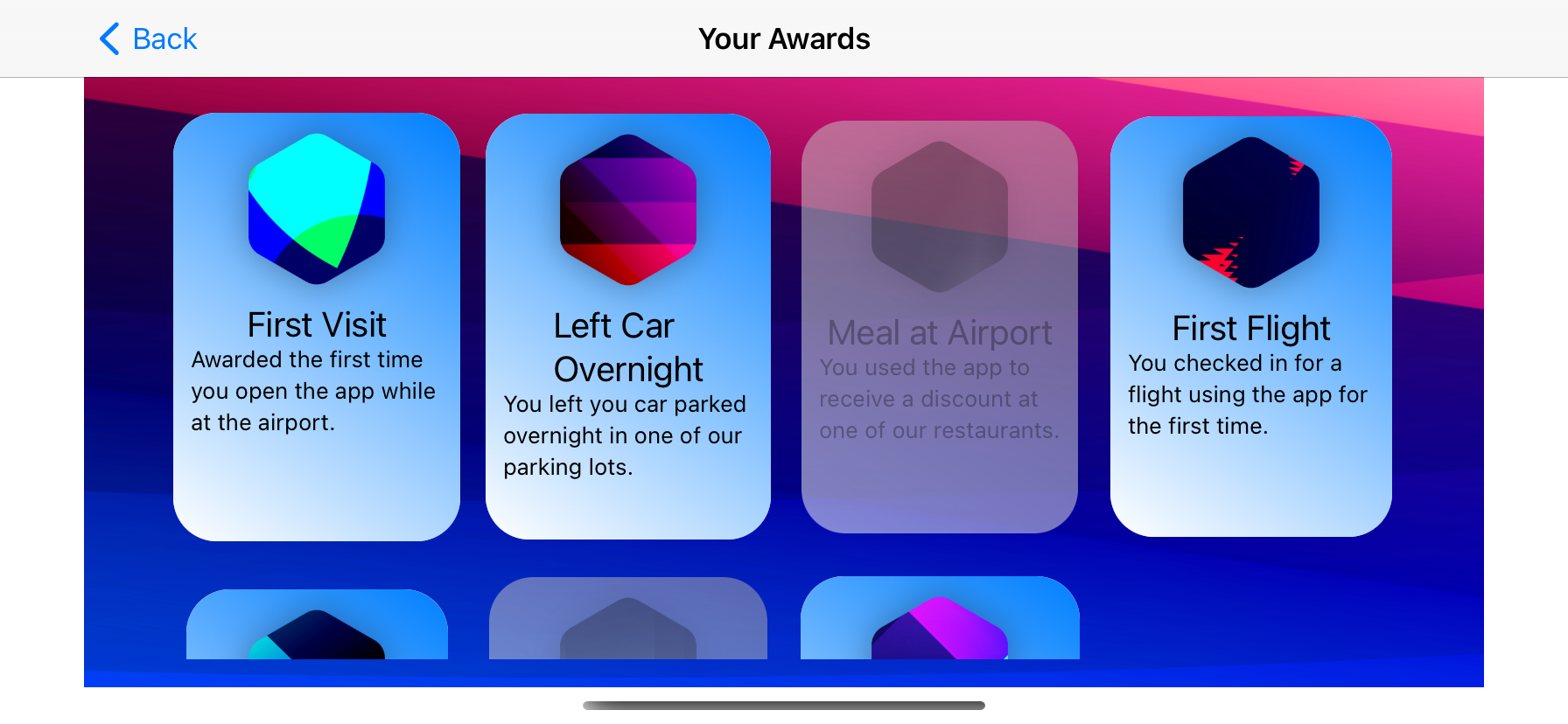 Adaptive award grid in horizontal