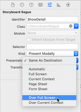 The presentation styles in Interface Builder