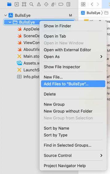 Using the right-click menu to add existing files to the project