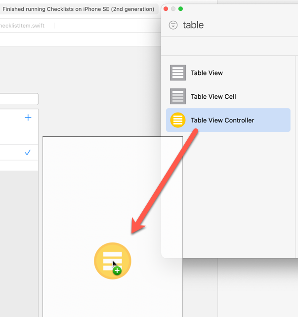 Dragging a new Table View Controller into the canvas