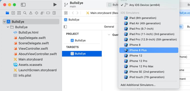 Using the scheme selector to switch to the iPhone 8 Plus Simulator
