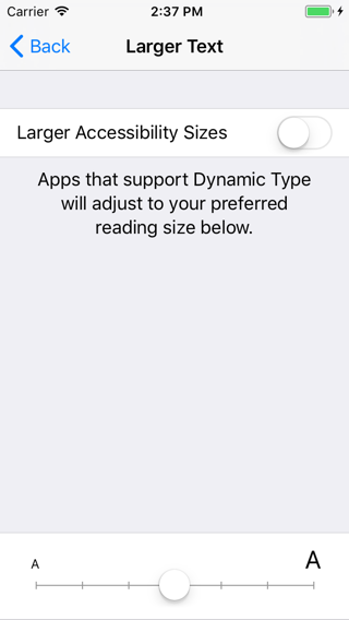 The Larger Text accessibility settings