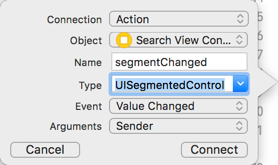 Adding an action method for the segmented control