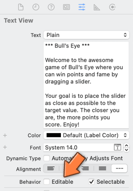 The Attributes inspector for the text view