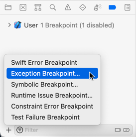 Adding an Exception Breakpoint