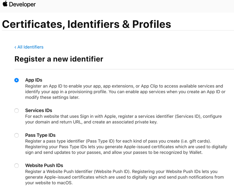 Select identifier type