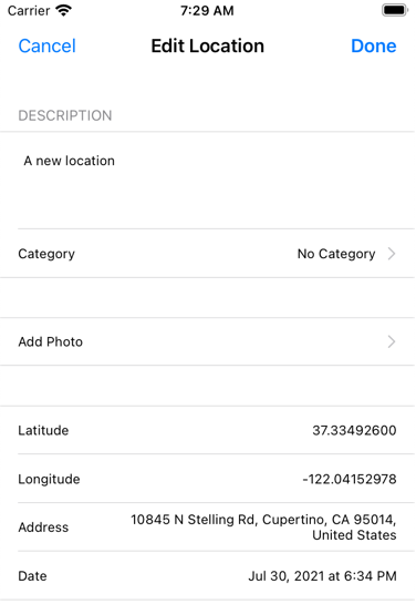 Editing an existing location