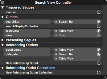 The connections from Search View Controller to the other objects