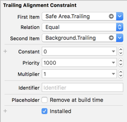 Auto Layout constraint editor