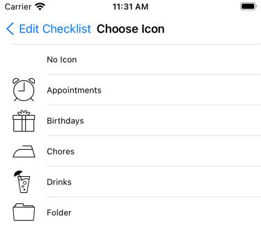 The icon picker screen