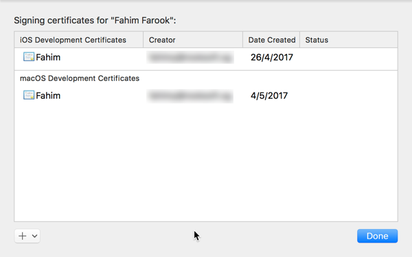 The Manage Certificates panel
