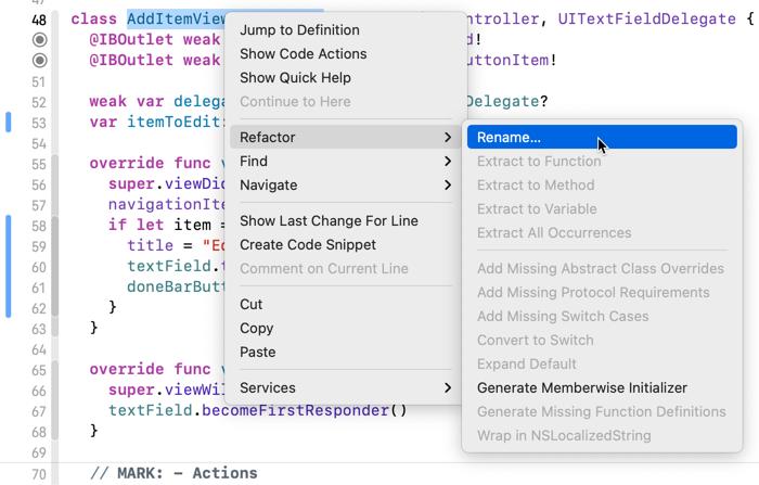 The Xcode context menu