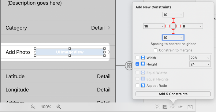 Image View Auto Layout constraints