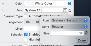 Font picker with the System font