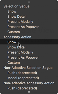 Making a segue from the detail disclosure button
