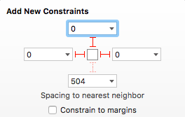 The constraints for the Search Bar