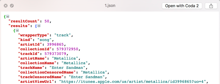 A more readable version of the output from the web service