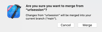 The confirmation dialog before merging changes