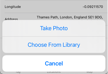 The action sheet that lets you choose between camera and photo library