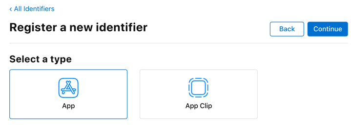 Select App ID type