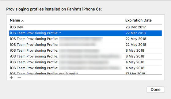 The provisioning profiles on your device