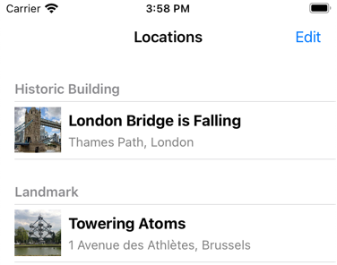 Images in the Locations table view