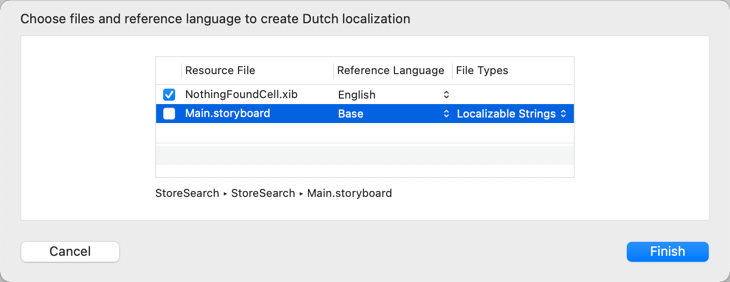 Choosing the files to localize