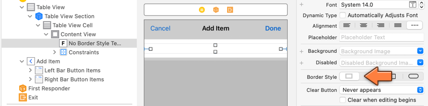 Adding a text field to the table view cell