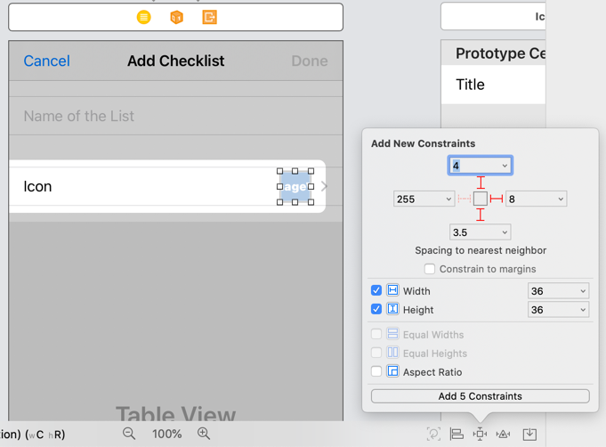 Adding constraints to the Image View