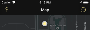 Map screen with the button icons