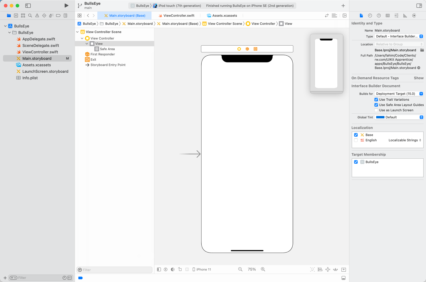 Editing Main.storyboard in Interface Builder
