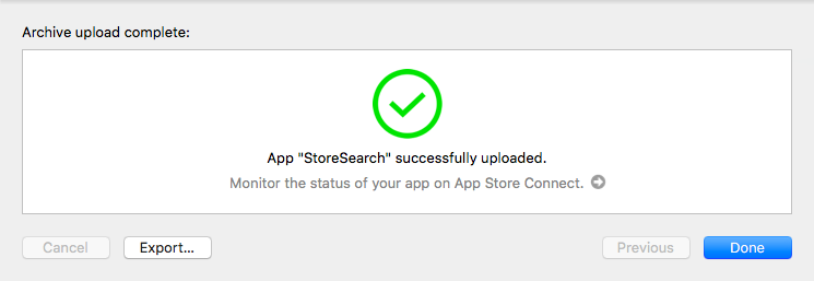 App Store Connect app upload successful