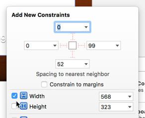 Pinning the width and height of the container view