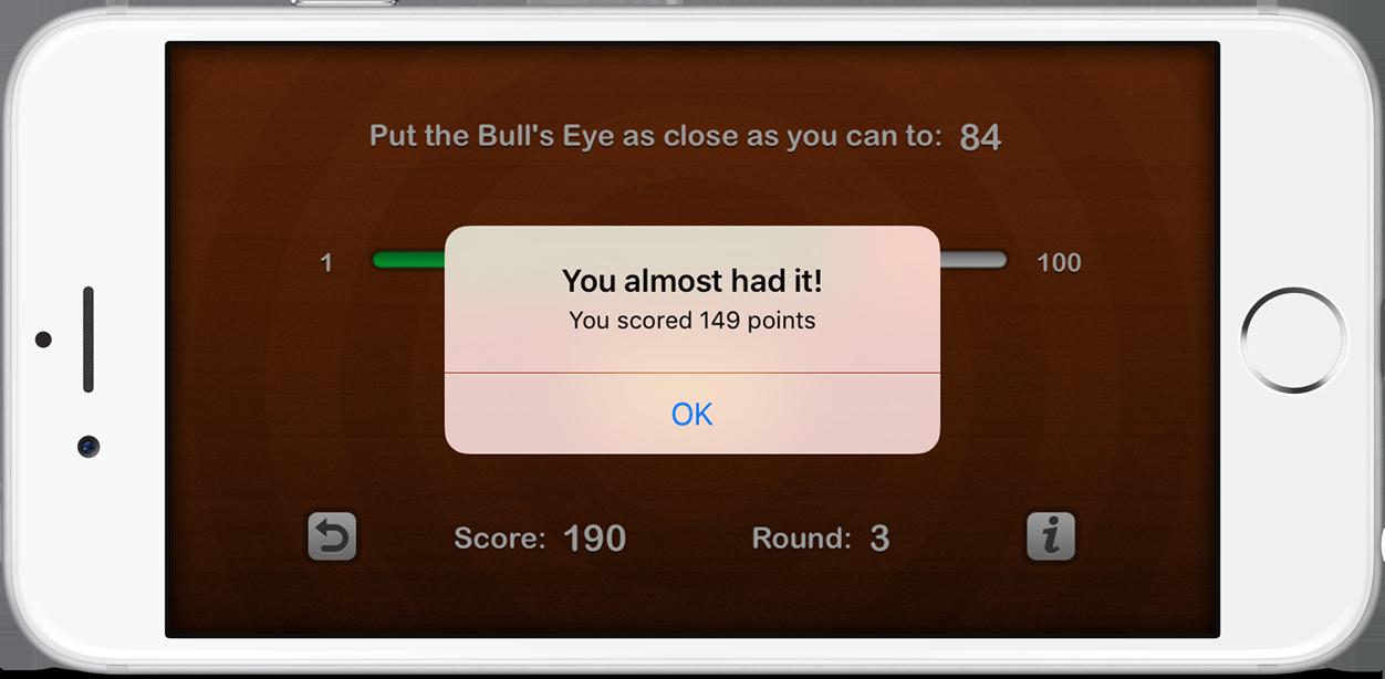 An alert pop-up shows the score